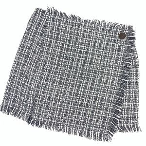 SHEIN Skirt Checkered Plaid w / Fringe / Raw Hems